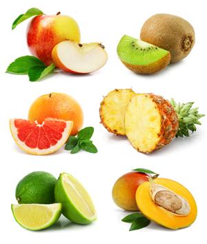 میوههای برش خورده با برگهای سبز / Fruits With Cut & Green Leaves