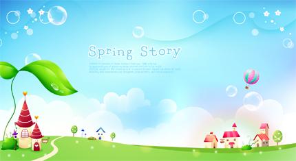وکتور زیبا و رویایی داستان بهار