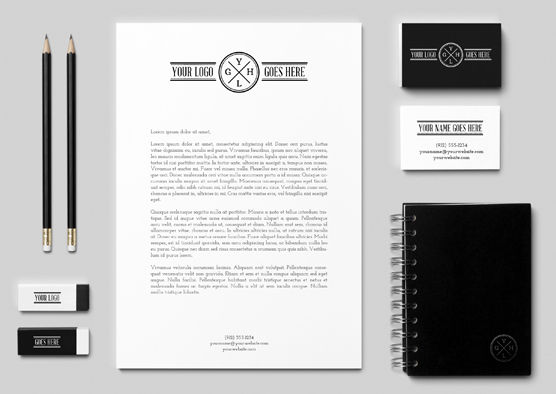 Black & White Branding Mockup By GraphicBurger