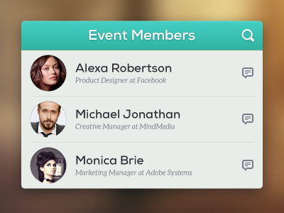 رابط کاربری رویداد کاربران