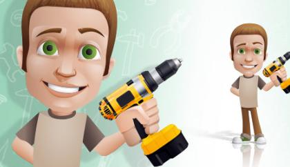 مرد دریل به دست / Man Holding A Drill