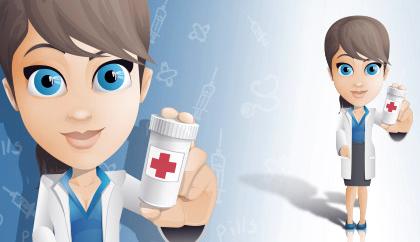 خانم دکتر قرص به دست / Female Doctor Holding Pills