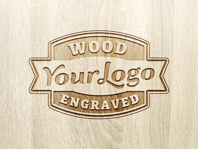 لوگوی حکاکی شده روی چوب