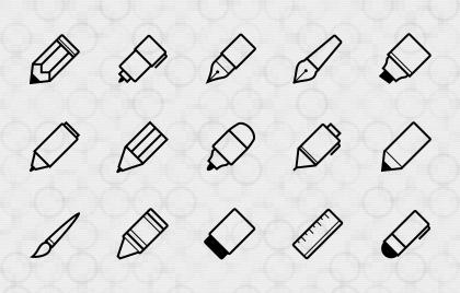 آیکونهای ابزارهای نوشتن / Writing Implements Icons
