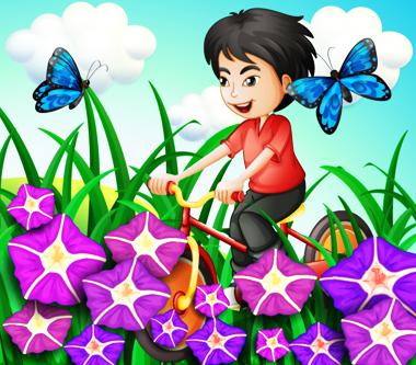یک پسر در حال دوچرخه سواری در باغ با گلها و پروانهها / A Boy Biking In The Garden-With Flowers And Butterflies