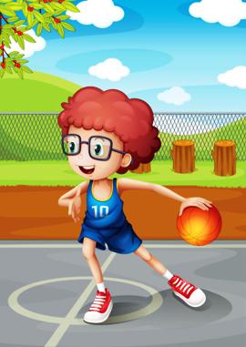 یک پسر جوان در حال بازی با توپ بسکتبال / A Young Boy Playing Basketball