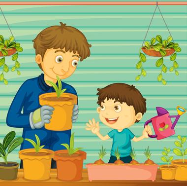 پدر و پسر در گلخانه / Father And Son In The Greenhouse