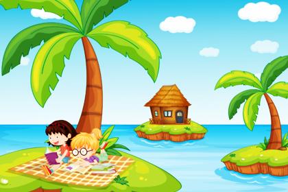 دختران در حال مطالعه کردن در جزیره / Girls Studying In The Island