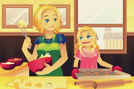 مادر و دختر در حال پختن کلوچه در آشپزخانه