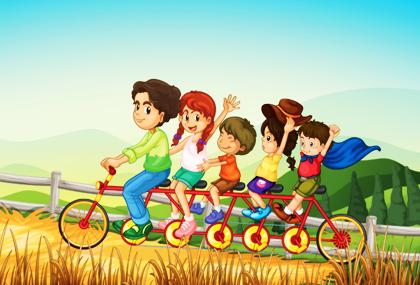 بچهها روی دوچرخه چند نفره