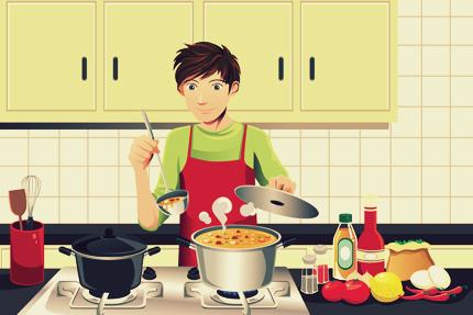 مرد در حال آشپزی