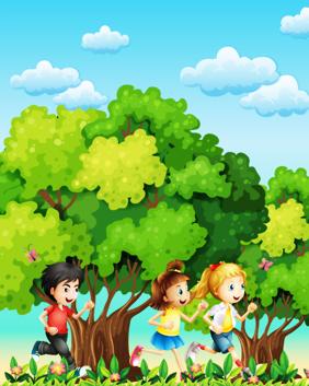 سه کودک در حال دویدن