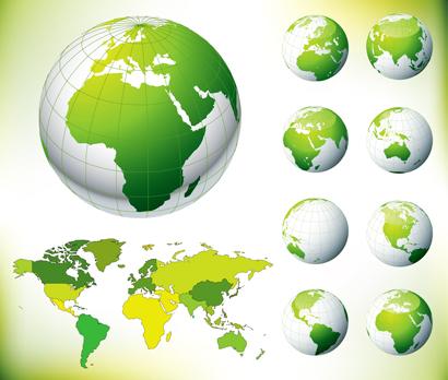 کره زمین و نقشه سبز جهان / Green Globe & World Map