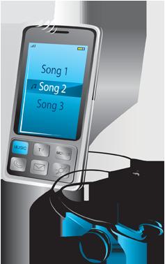 تلفن همراه با پخشکننده موسیقی