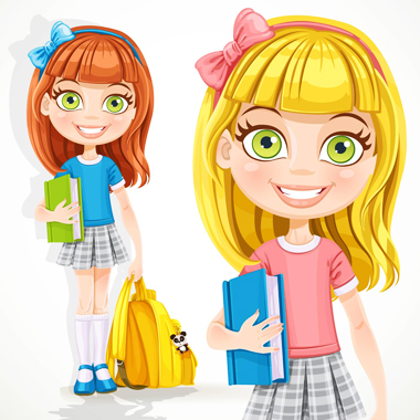 دختر دانشآموز با کوله پشتی و کتاب درسی / Cute Student Girl With A Backpack And Textbook