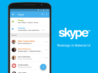 Skype Material UI By IndiaNIC