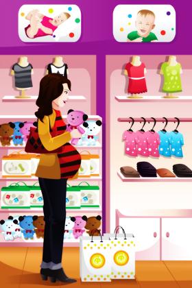 زن باردار در حال خرید سیسمونی کودک / Pregnant Woman Shopping Baby Stuff