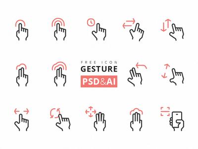 آیکونهای حرکات دست / Gesture Icons