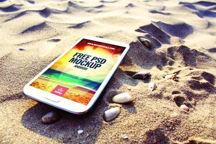 پیکرنمای سامسونگ نوت ۲ در ساحل