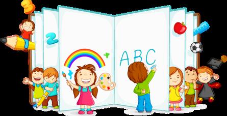 کودکان در حال بازی و خواندن با کتاب باز / Kids Playing And Reading With Open Book