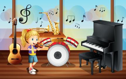 خانم موسیقیدان و وسایل موسیقی / Female Musician And Musical Instruments