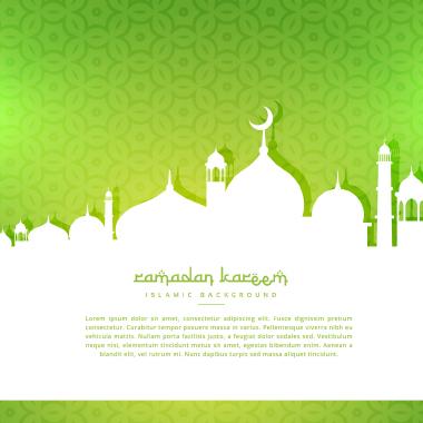 سایه مسجد در پسزمینه سبز / Mosque Silhouette In Green Background