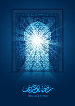 کارت تبریک رمضان با درب مسجد / Ramadan Greeting Card With Mosque Door
