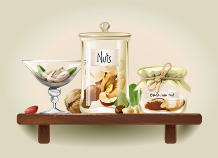 خشکبار در ظروف شیشهای روی قفسه چوبی / Nuts In Glass Jars On Wooden Shelf