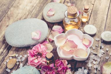 Spa Concept Sea Salt And Massage Oil