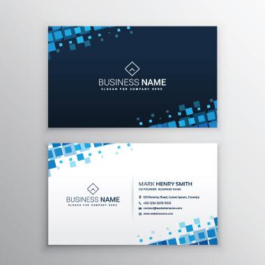 کارت ویزیت با مربّعهای آبی / Business Card With Blue Squares