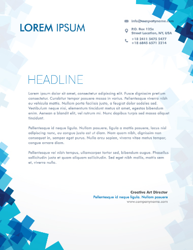 نامه پزشکی با اشکال آبی / Medical Letterhead With Blue Shapes