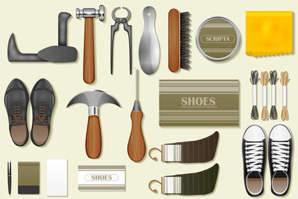 وسایل مورد نیاز برای پینهدوز / Identity Branding Mockup For Cobbler