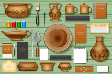 وسایل مورد نیاز برای سفالگر / Identity Branding Mockup For Pottery